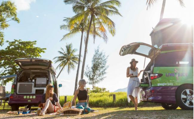 people camping in noosa with jucy campervans